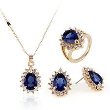 Blue Zircon Pendant Necklace Earring Ring Gold Plated Jewelry Sets Wedding