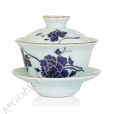 130ml Hand Paint Porcelain Ceramic Peony Chinese GongFu Tea Gaiwan teacup Cup