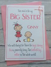 Handmade Personalised Big Sister Card (New Baby Congratulations / Birthday)