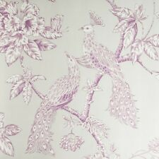 Peacock Wallpaper Trees Flowers Floral Natural Nature Leaves Amethyst & Cream