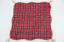 Robert Stock Cotton Pocket Square Red Black White Plaid Equestrian Print 17""