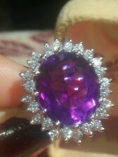 DESIGNER Carlyle & Co. ! 14K WHITE GOLD HUGE AMETHYST & DIAMOND RING!