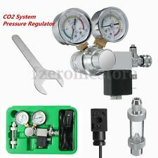 CO2 Pressure Regulator Magnetic Valve Solenoid +Bubble Counter Aquarium+Box 110V