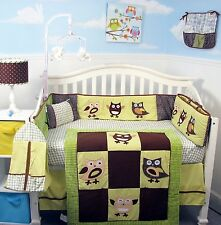 BOY GIRL CRIB BEDDING SET HAPPY OWL FAMILY Infant Baby Nursery 13Pc Quilt Sheet+