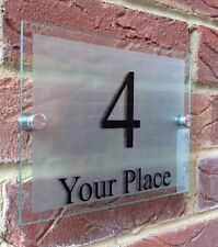 MODERN HOUSE SIGN PLAQUE DOOR NUMBER STREET GLASS ACRYLIC ETCHED