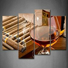 Liquor In Cup With Cigar Wall Art Painting Pictures Canvas Photo Print Framed