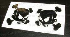 50mm (5cm) x2 Small Skull Vinyl Stickers Decals Ken Hoonigan Block 17 colours