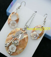 Natural  MOP MOTHER OF PEARL HAND CARVED  OVAL NECKLACE DANGLE EARRING SET
