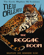 Leopard New Orleans Reggae Room Music Jazz 16X20 Vintage Poster Repro FREE S/H