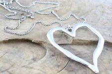 Grande Astratto metallo ciondolo cuore e corda nera collana argento Lagenlook