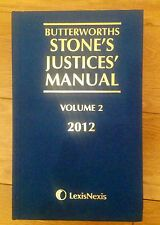 BUTTERWORTHS STONES JUSTICES MANUAL VOLUME 2 2012 LAW BOOK - LEXIS NEXIS - NEW