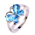 Butterfly Blue Topaz Gemstone Women Great Jewelry Silver Ring Size 6 7 8 9 10 11
