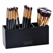 Hoomall Black Acrylic Makeup Brush Holder Organizer Box 3 Slot Cosmetics