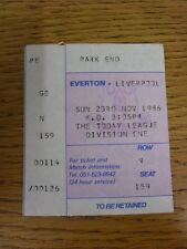 23/11/1986 Ticket: Everton v Liverpool [Football League Runners Up] (light creas