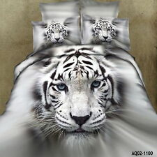 White Tiger King/Queen Size Bed Quilt/Duvet/Comforter Cover Set 100% Cotton