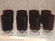 Luminarc Arcoroc France 8 Vintage Ruby Red with Clear Stem Wine Goblets 4 1/8""