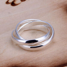 -UK- 925 Silver Triple Interwoven Band Infinity Ring Three Thumb Multi Ring(096)