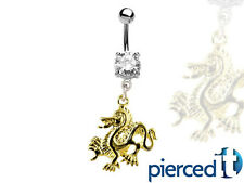 GOLD DRAGON SILVER DANGLE BELLY RING 14g