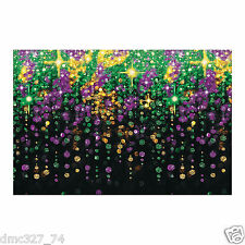 MARDI GRAS Fat Tuesday Party Decoration Mural BEADS GALORE BACKDROP Photo Prop