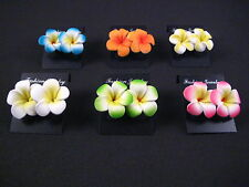 -- Set of 12 pcs (6 pairs) --  Mini Hawaiian Plumeria Flower Stud Earrings