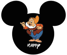 DISNEY MICKY MOUSE SEVEN DWARFS HAPPY T-SHIRT IRON ON TRANSFER