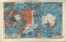Landkarte map 1910: POLARLÄNDER. I/II. Neusibirische Inseln Bering Spitzbergen
