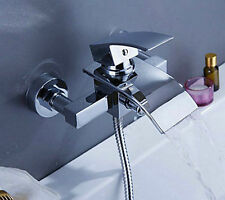 New Wall Mounted Waterfall Bathroom Bath  Shower Tap Mixer Faucet With Handheld