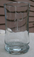 Vintage Anchor Hocking Juice Glass,hand cut,fancy initial P,clear,1960s -barware