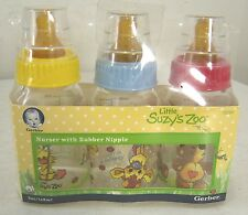 Gerber Little Suzy's Zoo Nurser with Rubber Nipple Baby Bottles  - 3 pack