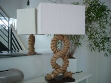 """Tischleuchte """" Tau"""" Leuchte Schirm Holz Nachttischlampe Seil elektr. 040660 NEU"""