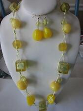 MULTI YELLOW BALL AND CUBE BEAD COTTON CORD NECKLACE EARRING SET