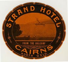 Strand Hotel CAIRNS QLD Australia * Old Luggage Label Kofferaufkleber