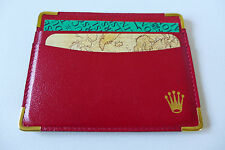 VINTAGE NOS ROLEX RED W/ CORNERS WATCH LEATHER DOCUMENT HOLDER WALLET COLLECTOR