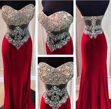 Crystal Sweetheart Long Red Prom Dress Sexy Beading Evening Party Pageant Dress