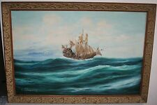 """Large 36"""" Antique / Old Seascape Oil Painting Pirate? Boat at Ocean"""