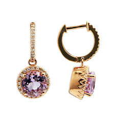 14K ROSE GOLD DIAMOND PINK AMETHYST ROUND DANGLE DANGLING HALO EARRINGS