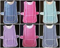 NEW WOMENS SIZES 10-26 CHECKED FRONT POCKET SIDE BUTTON OVERALL TABARD APRON