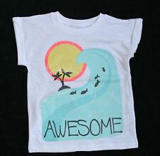 New Carter's Sparkle Ocean Wave Screen Print Top size 4 Kid NWT Palm Tree Sun