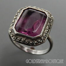 ANTIQUE 925 SILVER AMETHYST & MARCASITE ACCENTS ART DECO RING SIZE 5.25 #8098