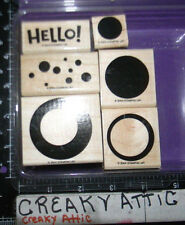 STAMPIN UP SIMPLY CIRCLES 6 RUBBER STAMPS HELLO BUBBLES