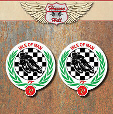 ISLE OF MAN TT Stickers x2 80X72mm classic motorbike motorsport Triumph decals