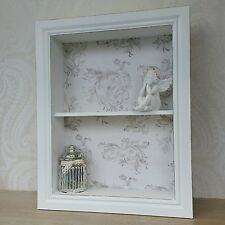 Wooden Wall Display Cabinet Shelf Unit White Ivory Shabby Chic Vintage Style