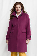 NWT Lands End Womens Italian Wool Cashmere Car Coat Purple 14W 16 18 $219