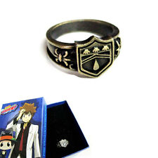 Vintage Anime Hitman Reborn Vongola Metal Finger Ring Cosplay Gift Rain Logo Box