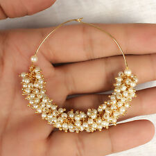 Indian Ethnic Bollywood Big Hoop Earrings Pearl Jhumka Jhumki Set Bridal Jewelry