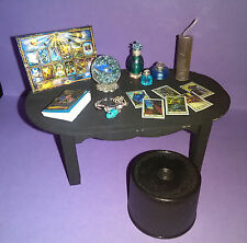 Dollhouse Witch's Table Crystal Ball Tarot Cards Book Candle Potion; 17pc SET 2