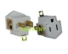3-Prong To 2-Prong Plug AC Polarized Power Outlet Wall Adapter 3 To 2 UL