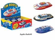Kids Tin Boat Toy Friction Sound Stocking Filler Collectible Boys Christmas Gift