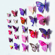 12pcs 3D Farfalle Adesivo ARTE MURALE PARETE PORTA Decalcomanie HOME DECOR-Viola