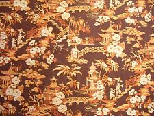 Vintage Waverly Pavilion Orange Chinoiserie Asian Fabric 1970s Cotton